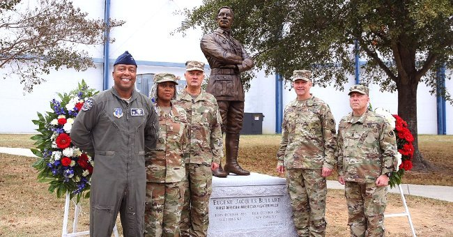 Members of the US Air Force honoring Eugene Jacques Bullard by attending his statue reveal | Source: Twitter / TAGofGA