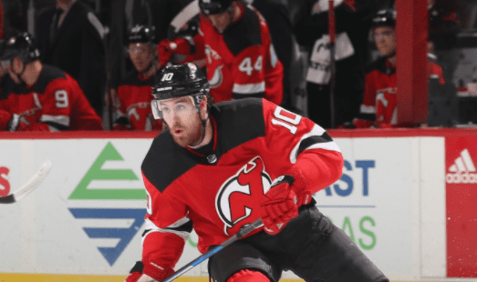 Jimmy Hayes #10 of the New Jersey Devils skates in the first-period against the Minnesota Wild during the game at Prudential Center on February 22, 2018 in Newark, New Jersey   Photo: Getty Images
