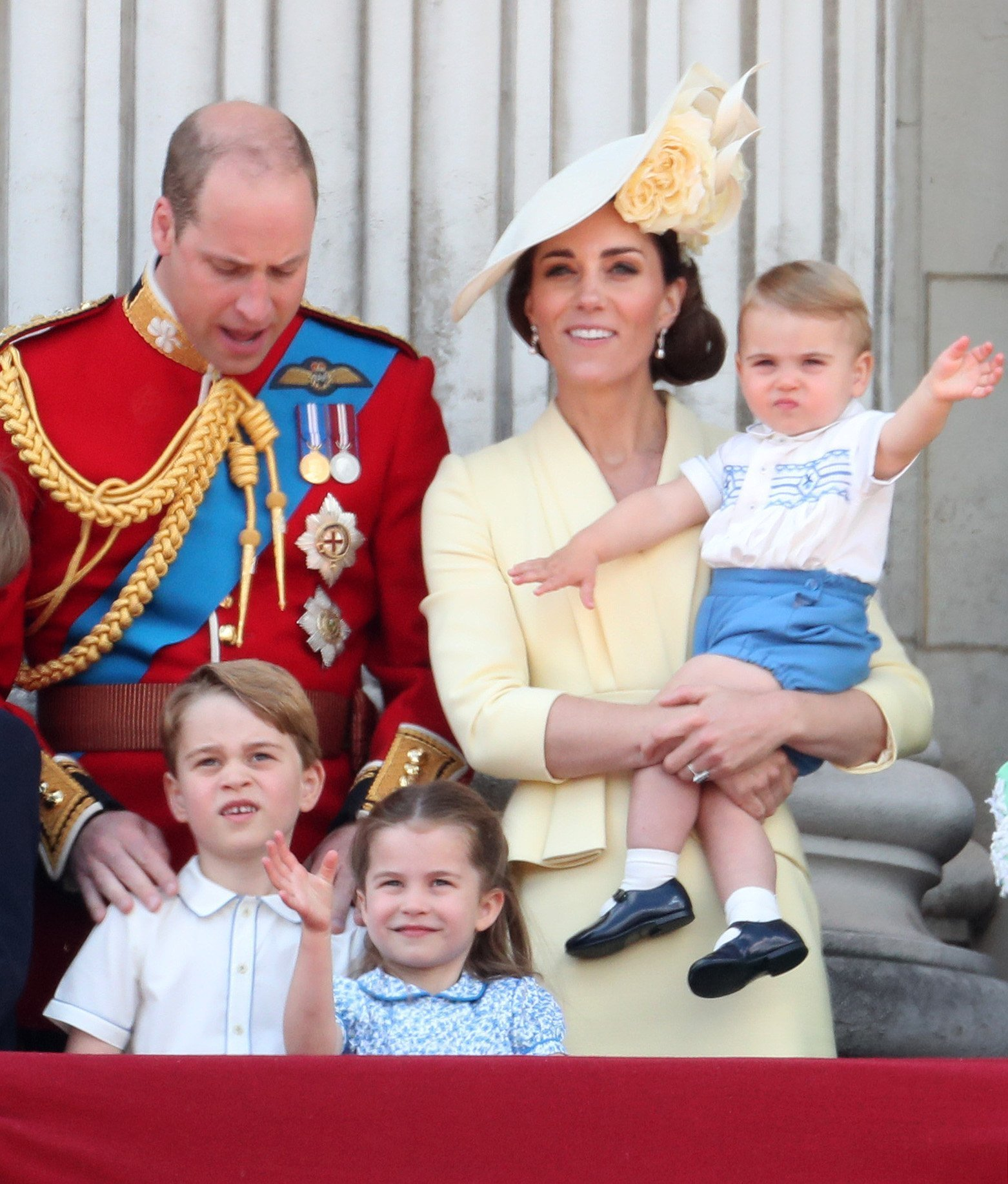 Prince William, Duchess Kate, Prince Louis, Princess Charlotte, and Prince George at Trooping The Colour, the Queen's annual birthday parade, on June 08, 2019 in London, England | Photo: Getty Images
