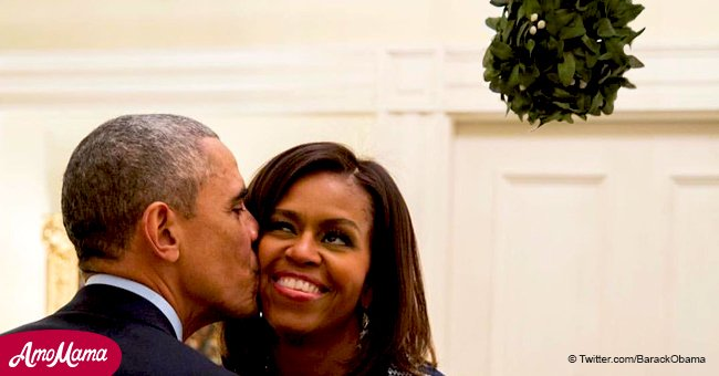 Former president Barack Obama wishes everyone Merry Christmas with a sweet photo of Michelle.