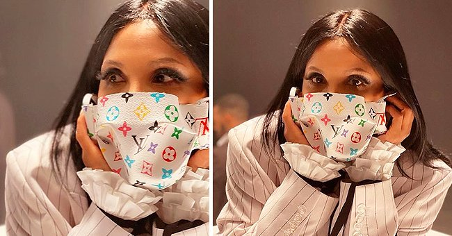 Toni Braxton Shares Photo of Herself in Cute Face Mask with Louis Vuitton Print Amid Coronavirus Scare