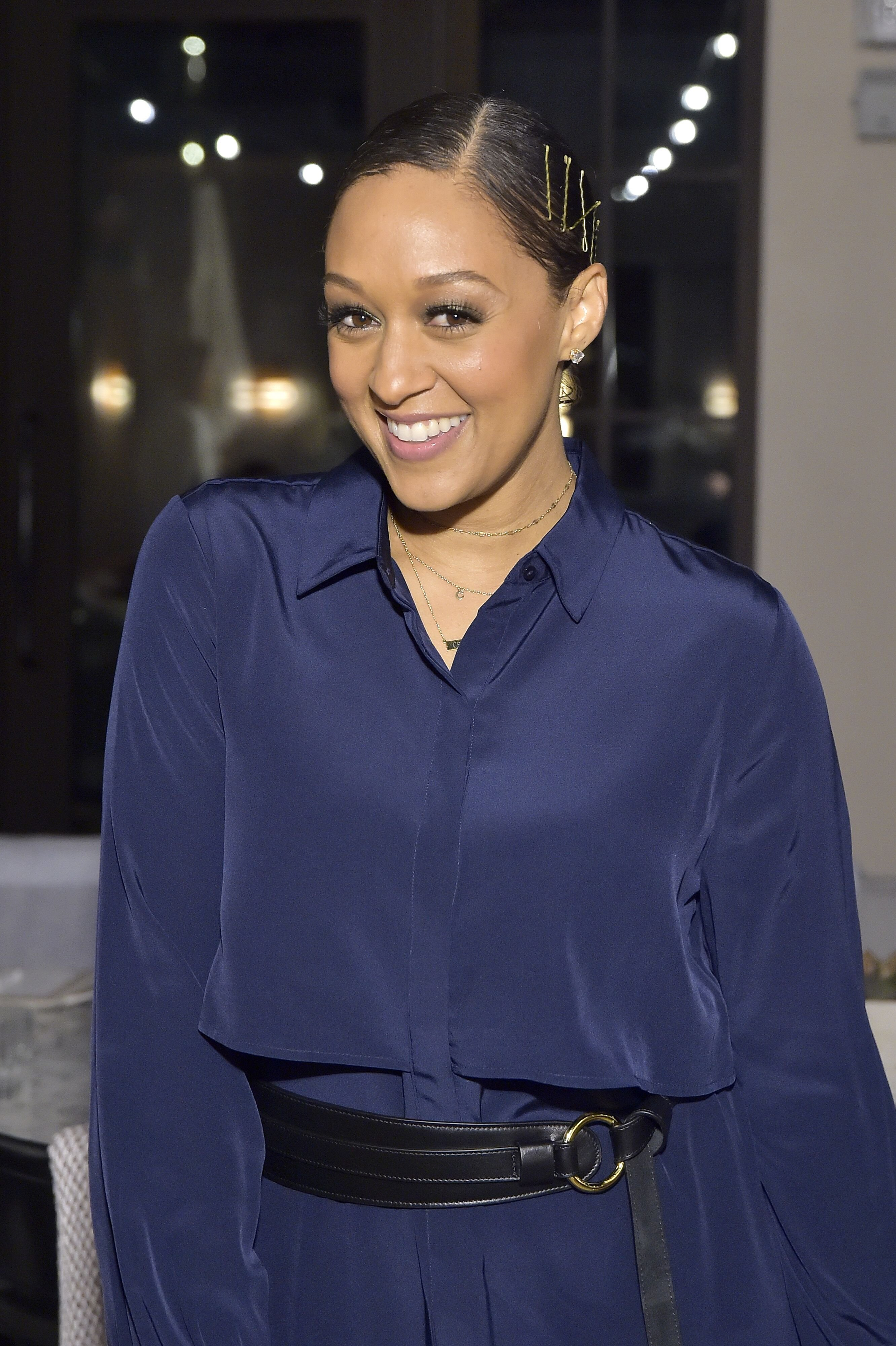 Tia Mowry at Cuyana x RAD Host Panel and Dinner in Honor of Future Coalition at The H Club Los Angeles on October 30, 2019 | Photo: Getty Images