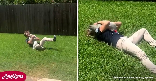 Little dog bursts with excitement when seeing military owner after 10 months of deployment