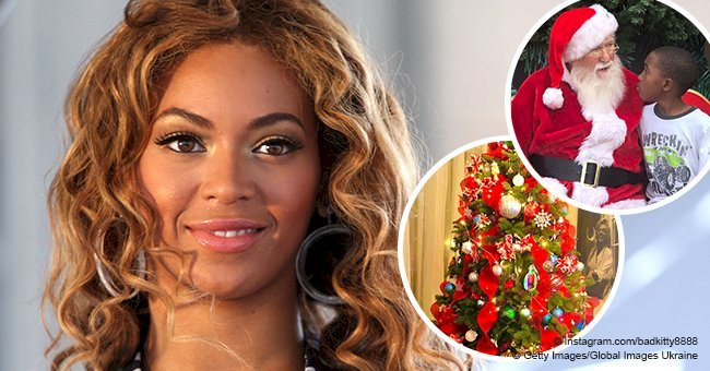Beyoncé's rarely seen half-brother poses next to a Christmas tree & meets Santa Claus in new photos