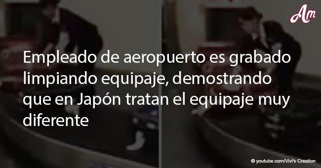 Empleado de aeropuerto es grabado limpiando equipaje, demostrando que en Japón tratan el equipaje muy diferente