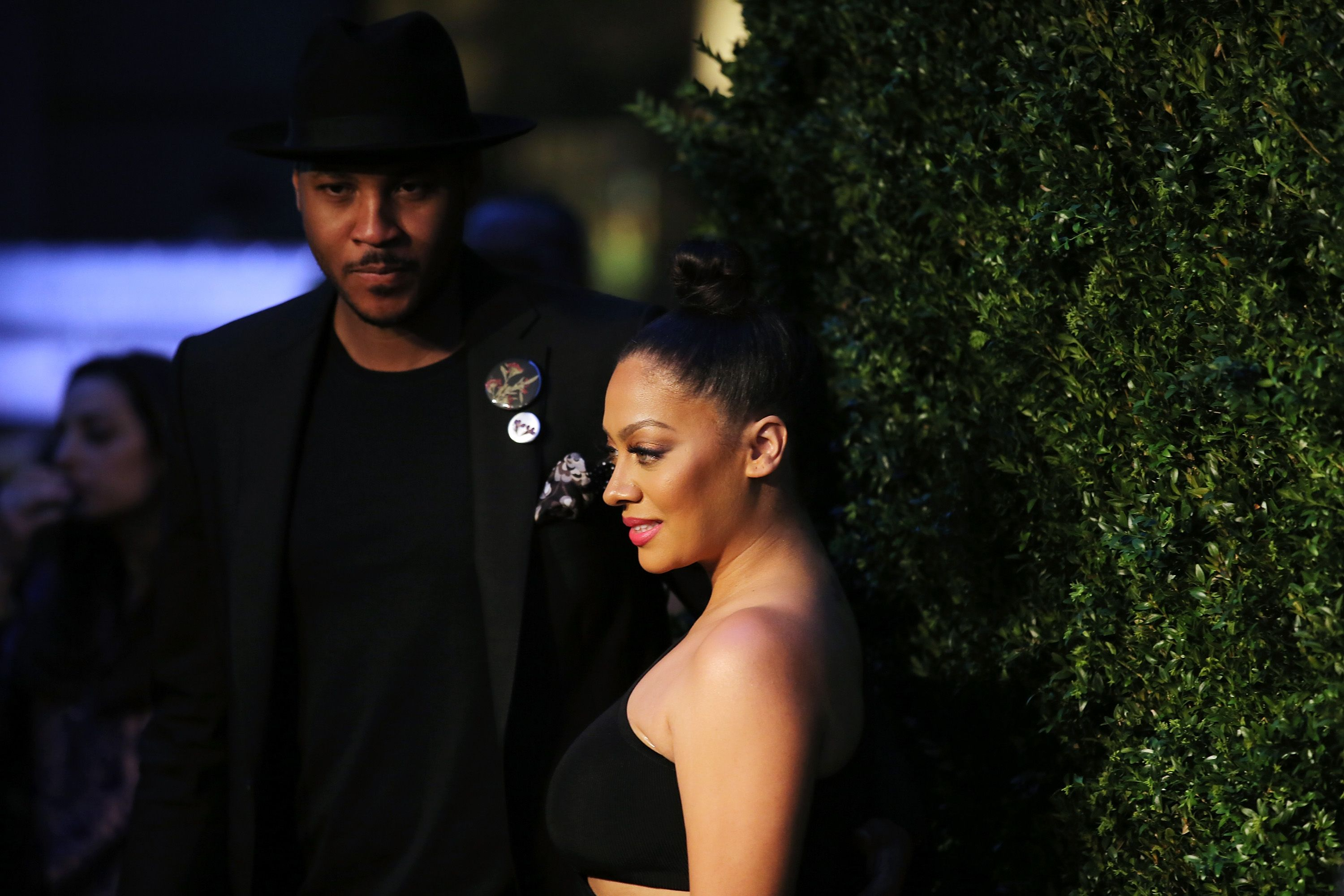 Carmelo Anthony and La La Anthony attend the 11th Annual Chanel Tribeca Film Festival Artists Dinner at Balthazar on April 18, 2016 in New York City. | Source: Getty Images