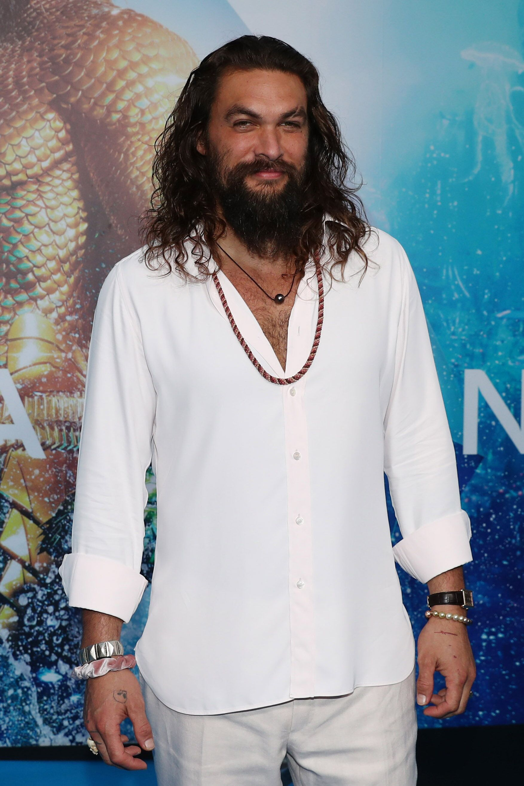 "Jason Momoa at the ""Aquaman"" premiere. 