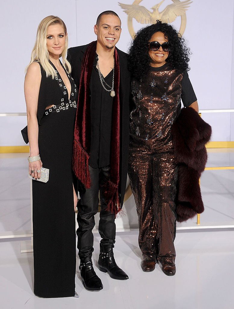"""Ashlee Simpson, Evan Ross and Diana Ross at the Los Angeles premiere of """"The Hunger Games: Mockingjay - Part 1"""" at Nokia Theatre L.A. Live on November 17, 2014 