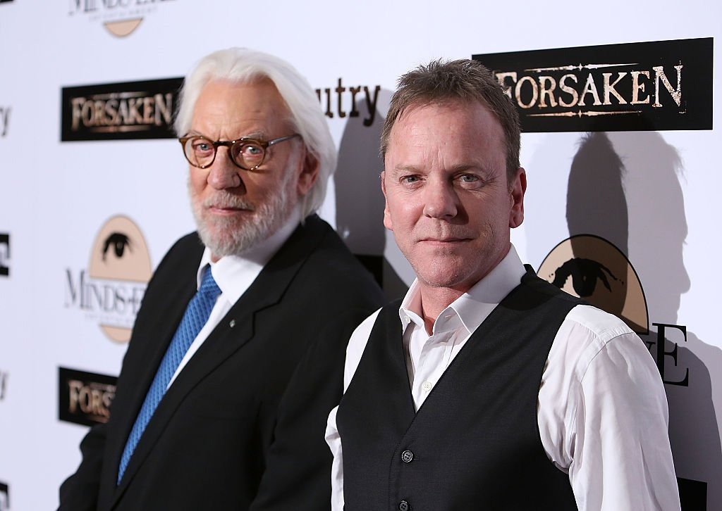 """Donald Sutherland and Kiefer Sutherland attend the Momentum Pictures' screening of """"Forsaken"""" at the Autry Museum of the American West on February 16, 2016 in Los Angeles, California. 