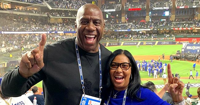 Cookie Johnson Poses With Husband Magic Johnson & Son Andre Near Dodgers Jet in a Sweet Photo