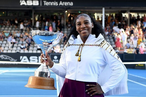 Serena Williams celebrating after winning the final match at ASB Tennis Centre on January 12, 2020 in Auckland, New Zealand.| Photo:Getty Images
