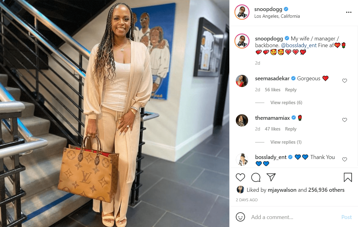 Snoop Dogg dotes on his wife and manager Shante Broadus.   Photo: Instagram/Snoopdogg