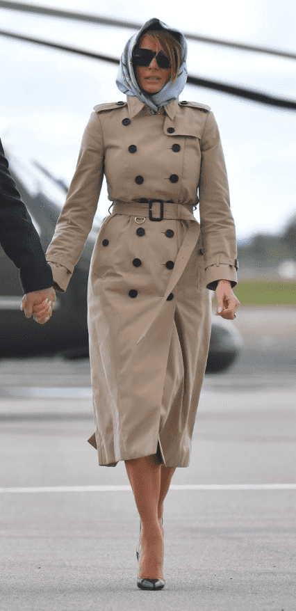 Screenshot of Melania Trump leaving Shannon Airport in an ensemble reminiscent of Jackie Kennedy.   Photo: Twitter/Mona Salama