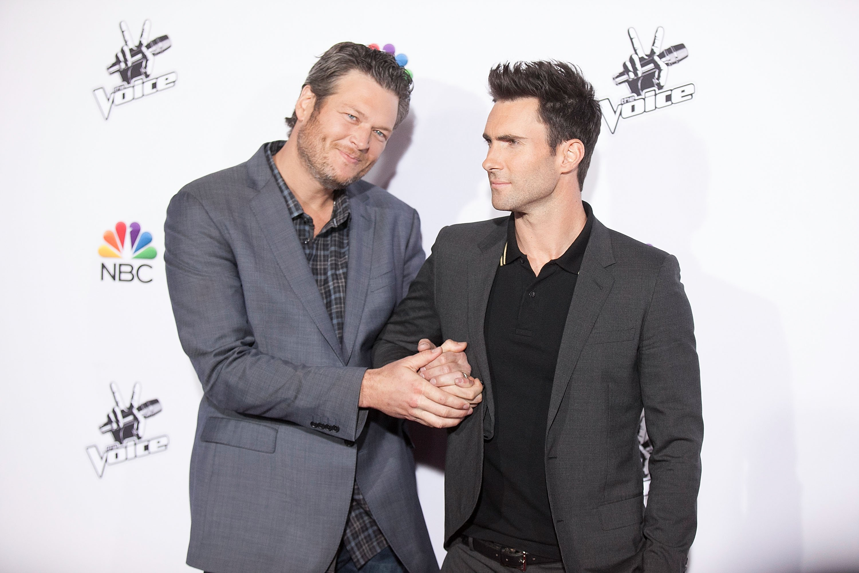 "Blake Shelton and Adam Levine at ""The Voice"" Season 7 Red Carpet Event on November 24, 2014 