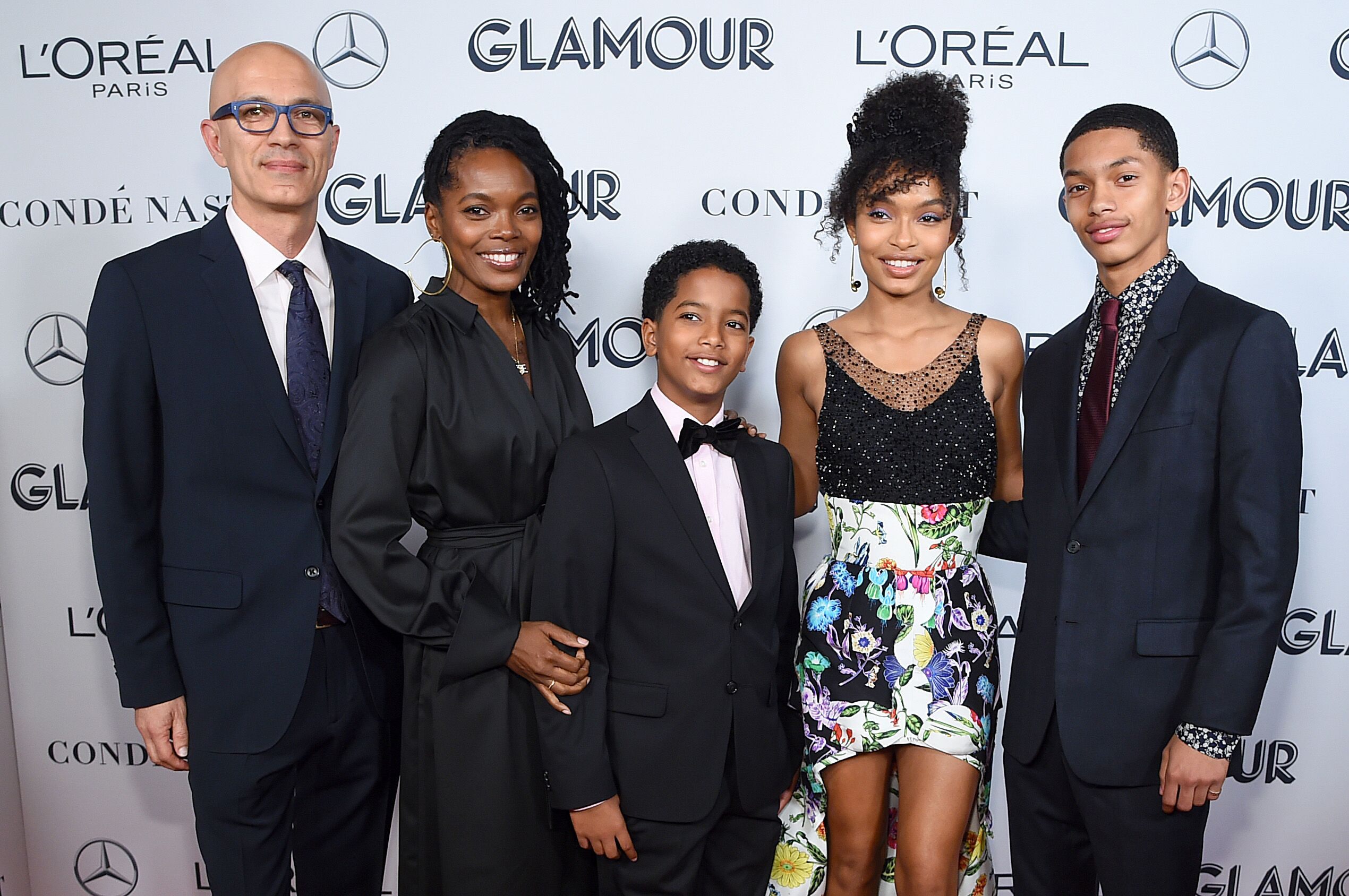 Yara Shahidi  at the 2019 Glamour Women of the Year Awards with her family / Source: Getty Images