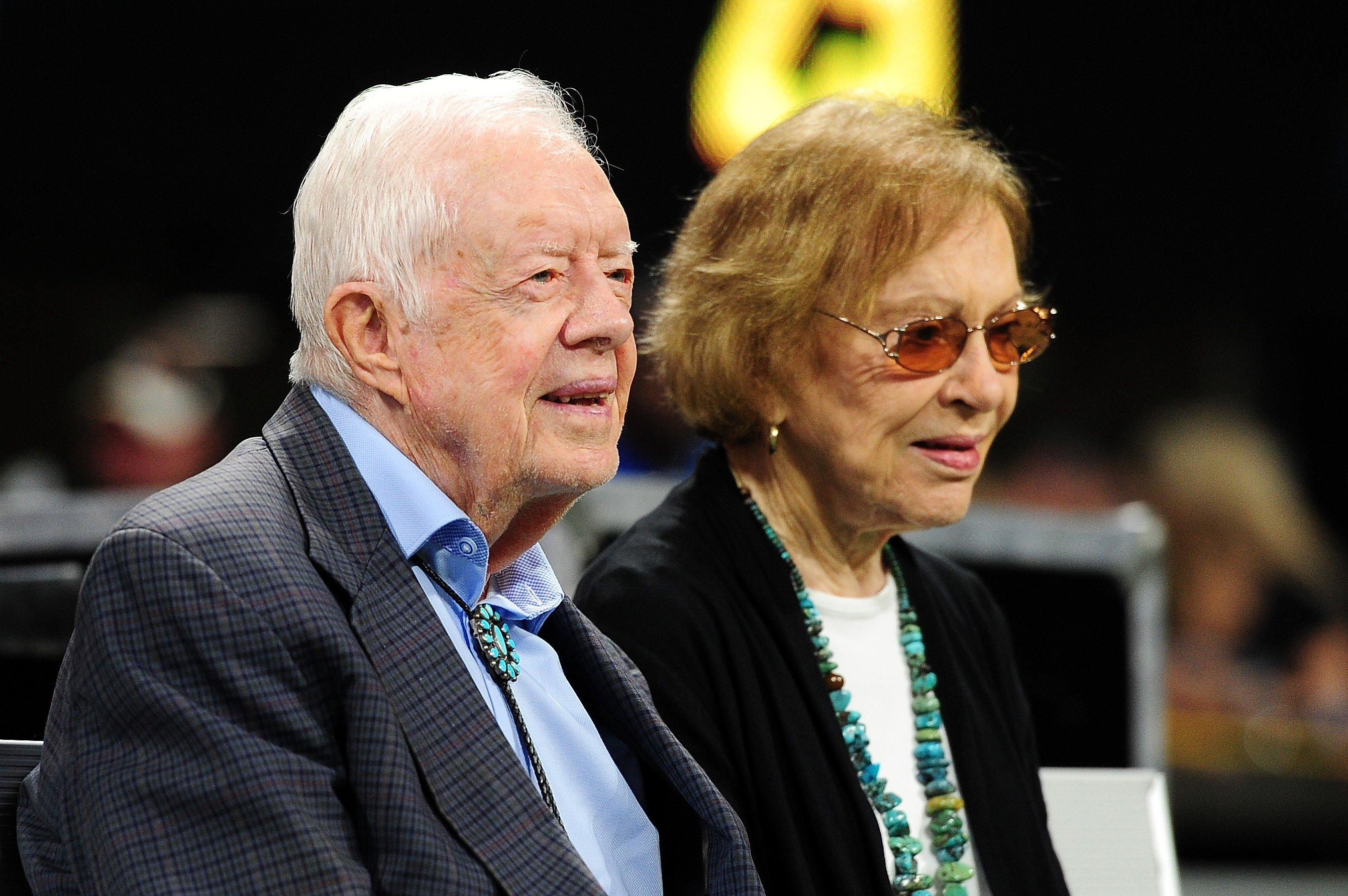 Former president Jimmy Carter and his wife Rosalynn prior to the game between the Atlanta Falcons and the Cincinnati Bengals at Mercedes-Benz Stadium on September 30, 2018, in Atlanta, Georgia. | Source: Getty Images.