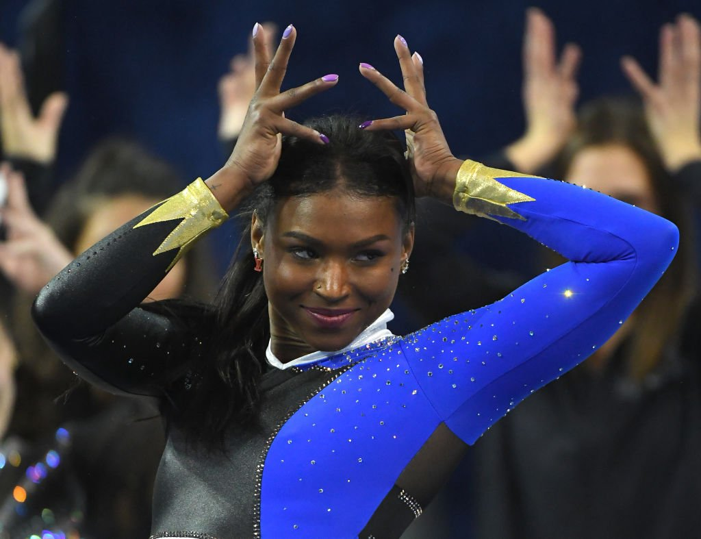 Nia Dennis performs the floor exercise during UCLA Gymnastics Meet the Bruins intra squad event at Pauley Pavilion on December 14, 2019. | Photo: Getty Images
