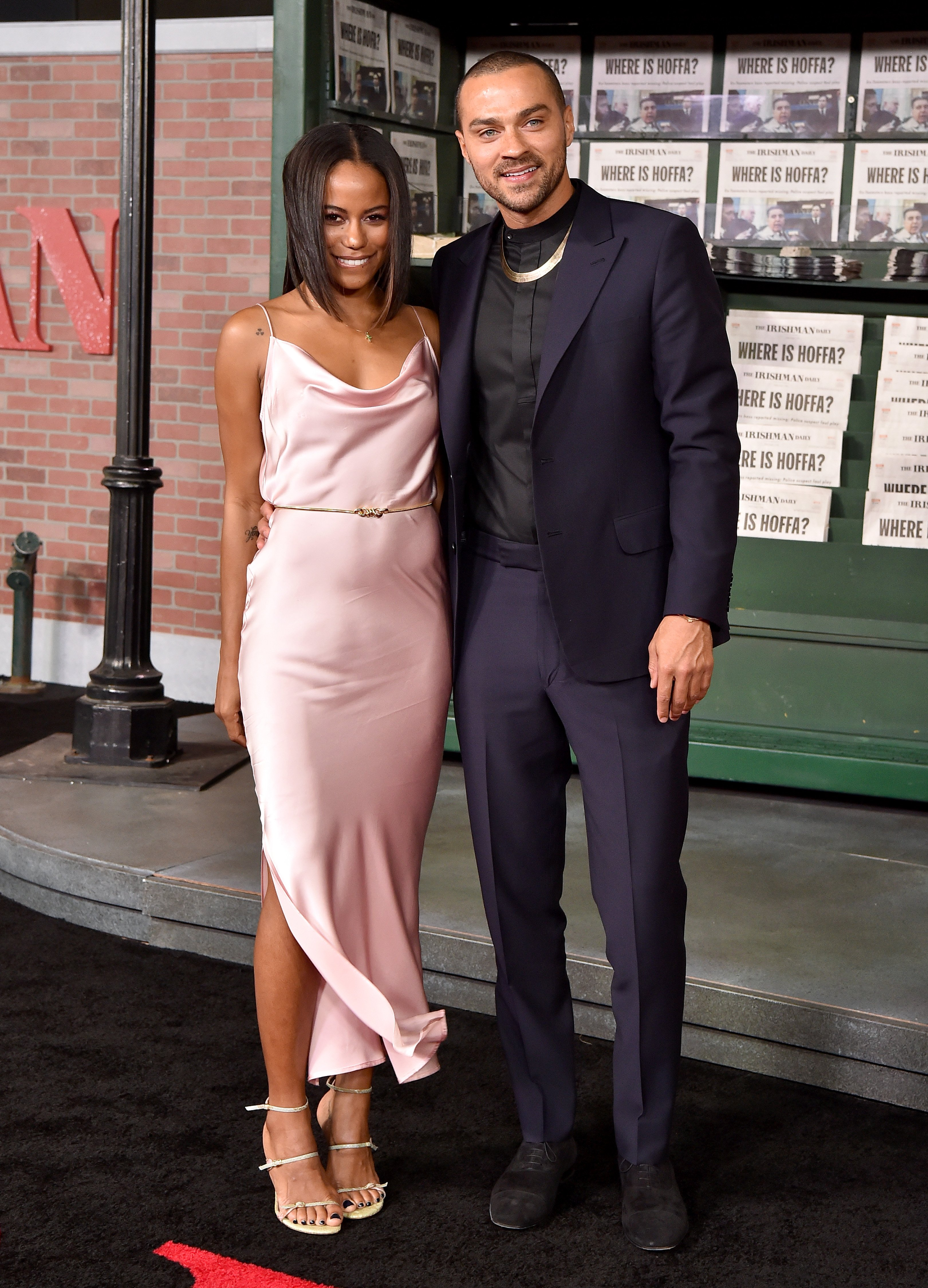 """Jesse Williams and Taylour Paige at the Premiere of Netflix's """"The Irishman"""" on October 24, 2019 in Hollywood, California. 