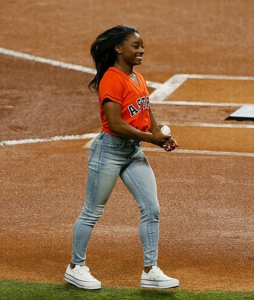 Simone Biles at Minute Maid Park on October 23, 2019   Photo: Getty Images