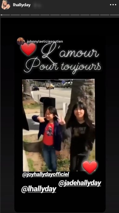 Le message de Laeticia Hallyday dans sa story Instagram. Photo : Instagram story/lhallyday
