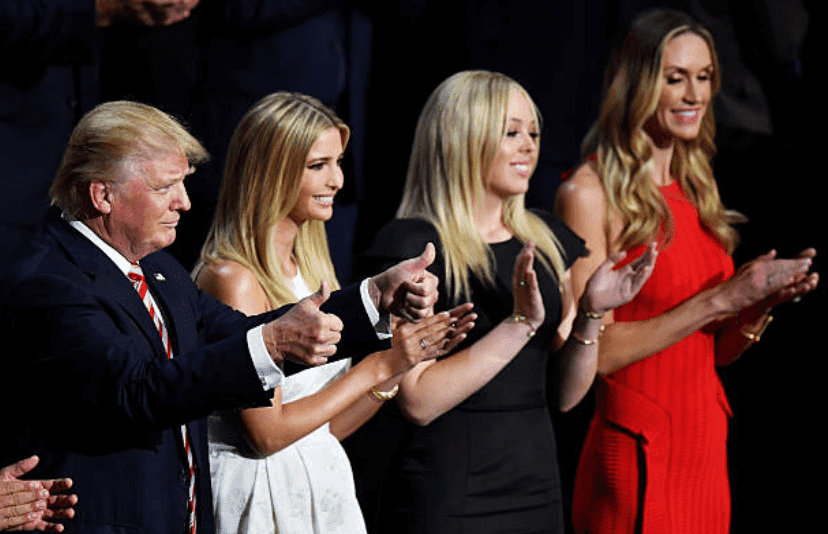 Donald Trump, Ivanka Trump, Tiffany Trump and Lara Trump support Eric Trump as he delivers his speech during Republican National Convention on July 20, 2016, at the Quicken Loans Arena in Cleveland | Source: Getty Images