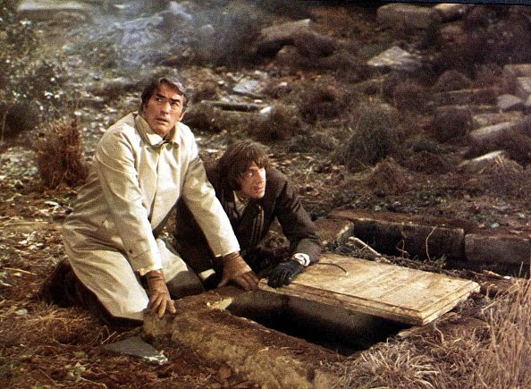 """David Warner and Gregory Peck in a scene from the 1976 movie """"The Omen.""""   Photo: Getty Images"""