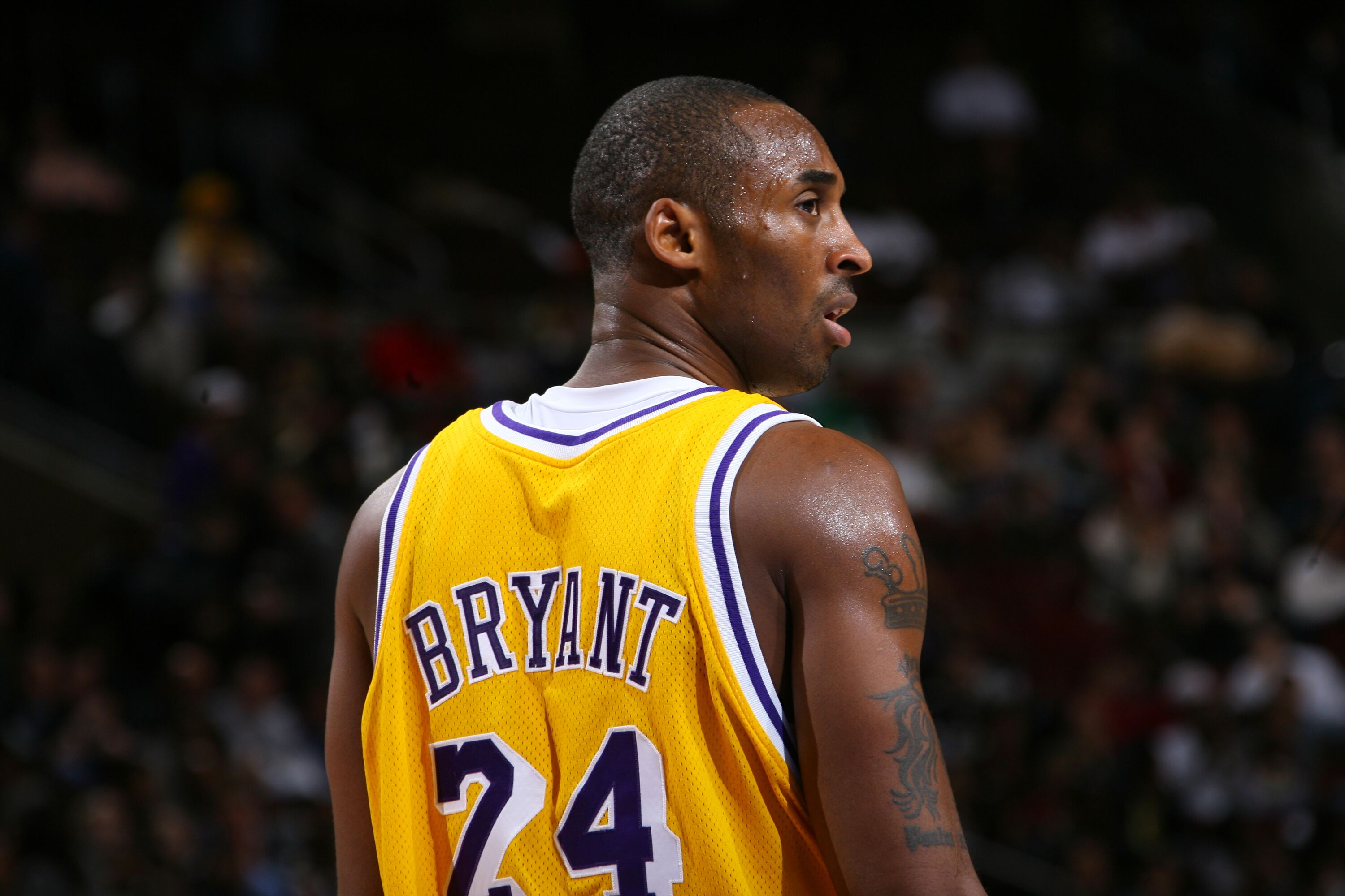 A portrait of Kobe Bryant at an NBA game | Source: Getty Images/GlobalImagesUkraine