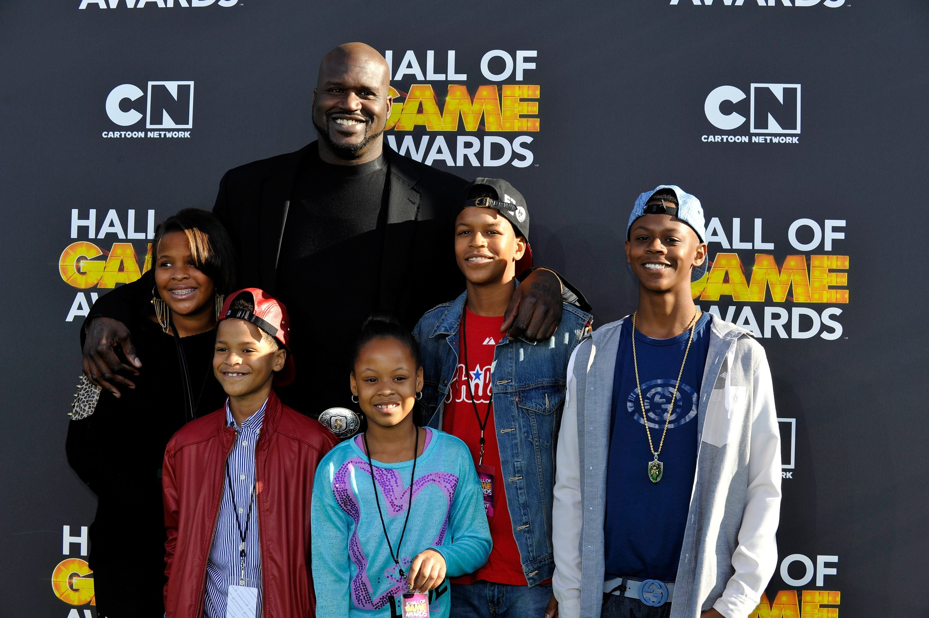 Taahirah O'Neal, host Shaquille O'Neal, Shareef O'Neal, Me'arah O'Nea, Shaqir O'Neall and Myles O'Neal attends the Third Annual Hall of Game Awards | Photo: Getty Images