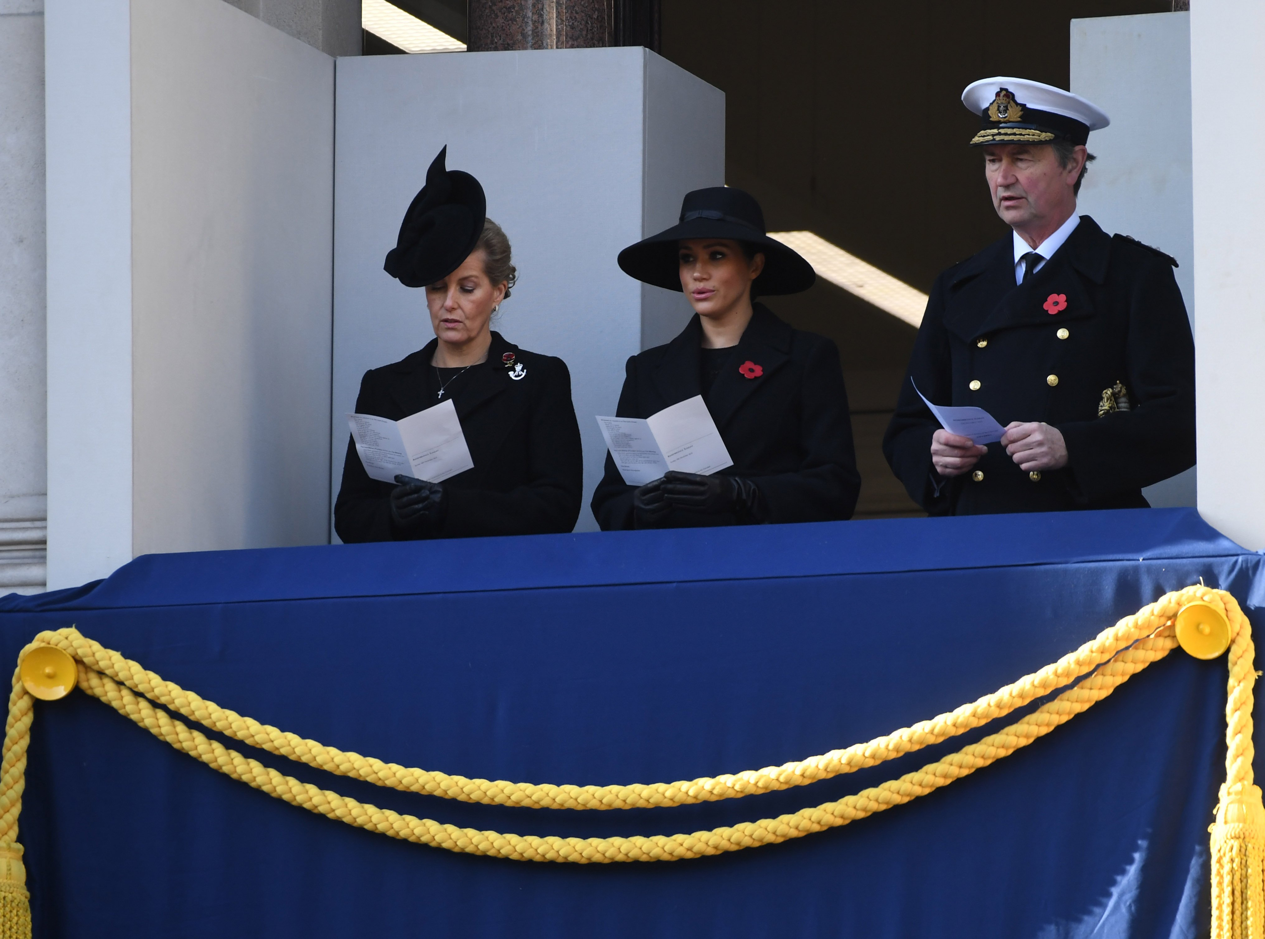 Sophie, Countess of Wessex, Meghan, Duchess of Sussex and Vice Admiral Sir Timothy Laurence attends the annual Remembrance Sunday memorial at The Cenotaph on November 10, 2019, in London, England. | Source: Getty Images.