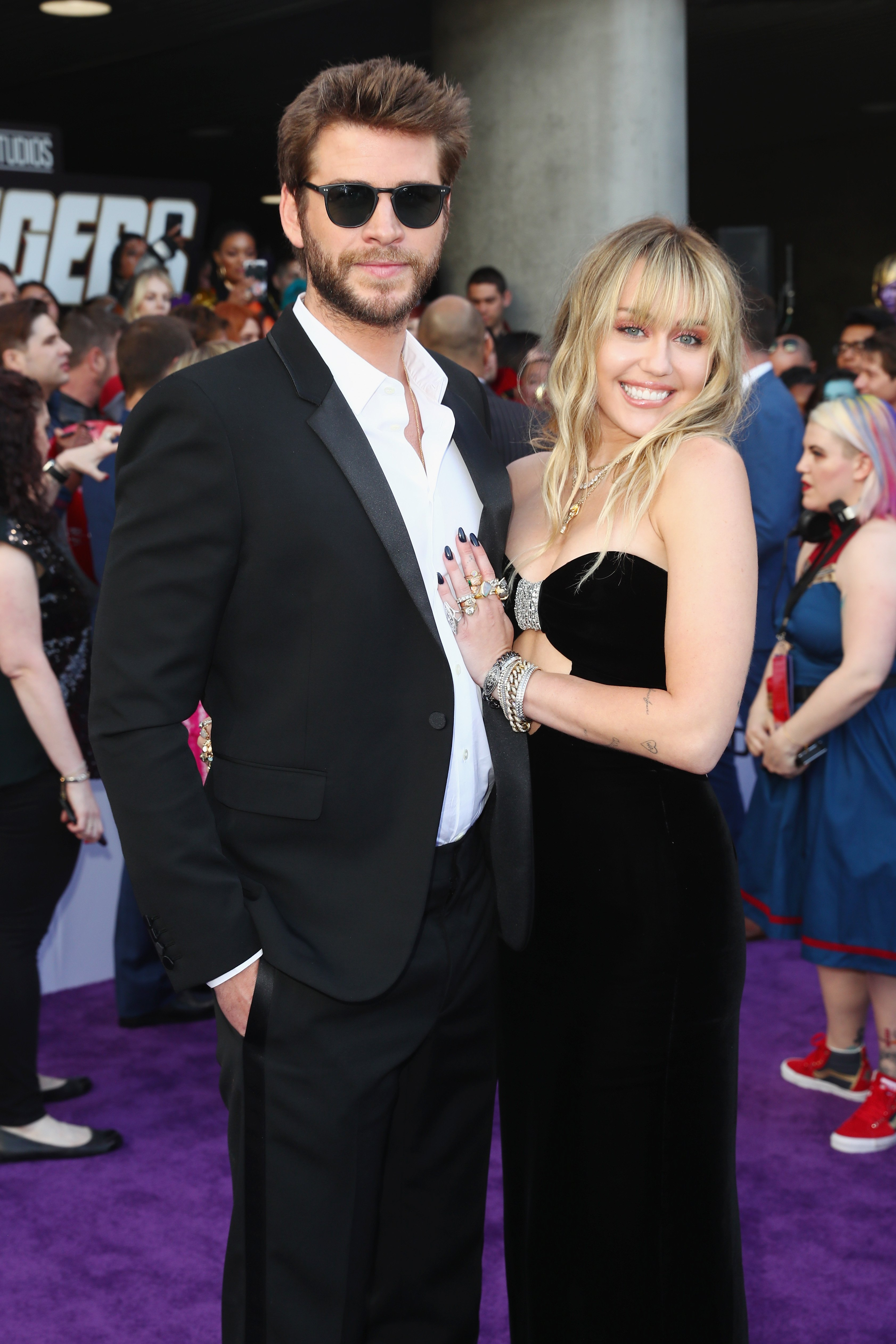 """Liam Hemsworth and Miley Cyrus attend Audi Arrives At The World Premiere Of """"Avengers: Endgame"""" on April 22, 2019, in Hollywood, California. 