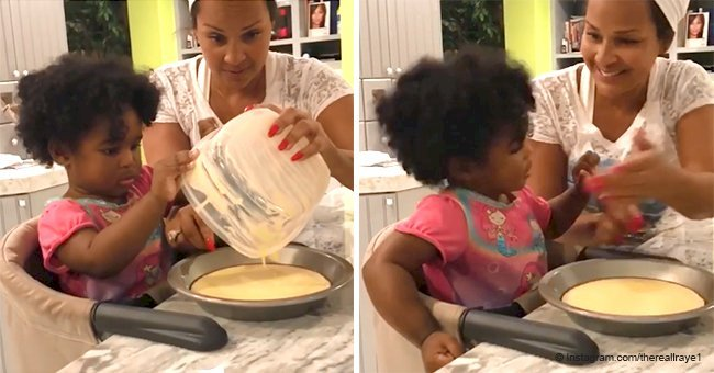 LisaRaye McCoy shares heart melting video of her cooking with her curly-haired grandbaby