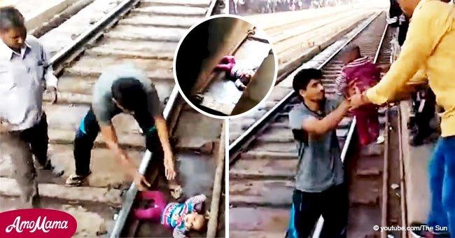 Momento en que bebé sobrevive milagrosamente tras caer bajo un tren en movimiento
