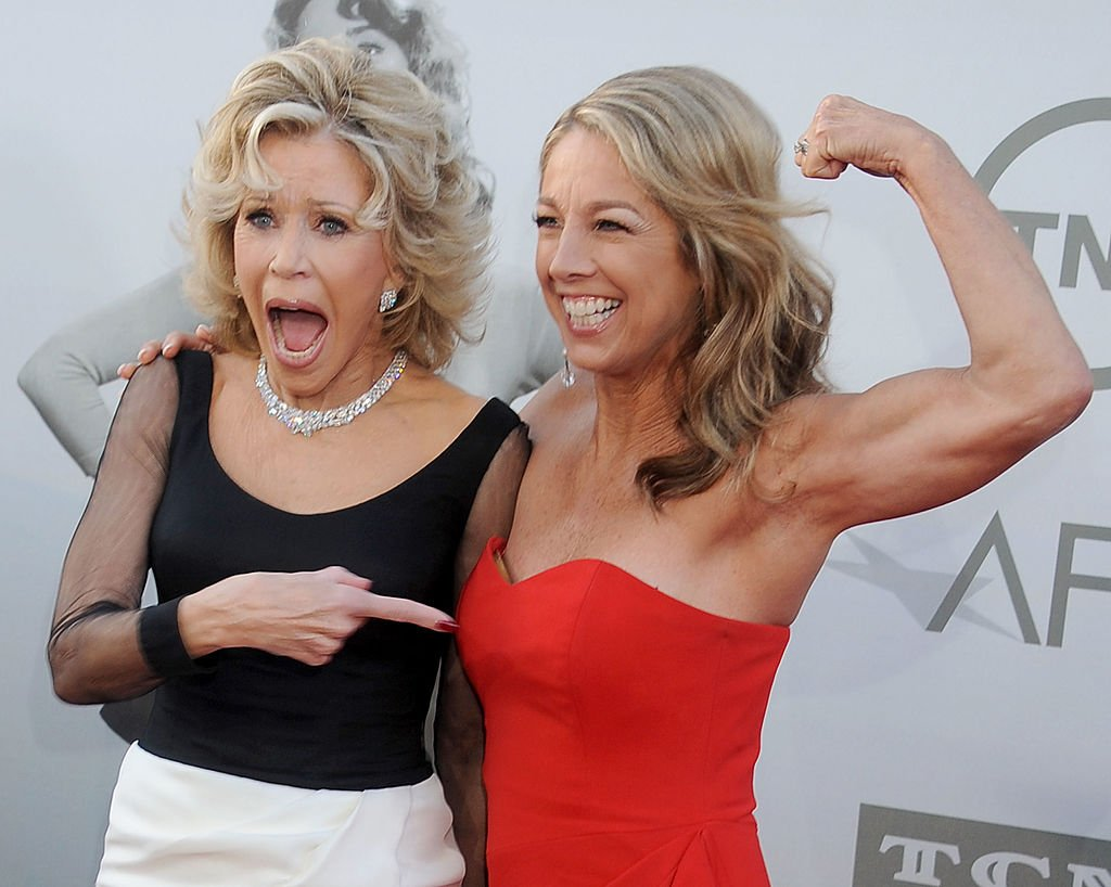Actress Jane Fonda and fitness instructor Denise Austin arrives at the 2014 AFI Life Achievement Award Gala Tribute at Dolby Theatre on June 5, 2014 in Hollywood, California. | Source: Getty Images