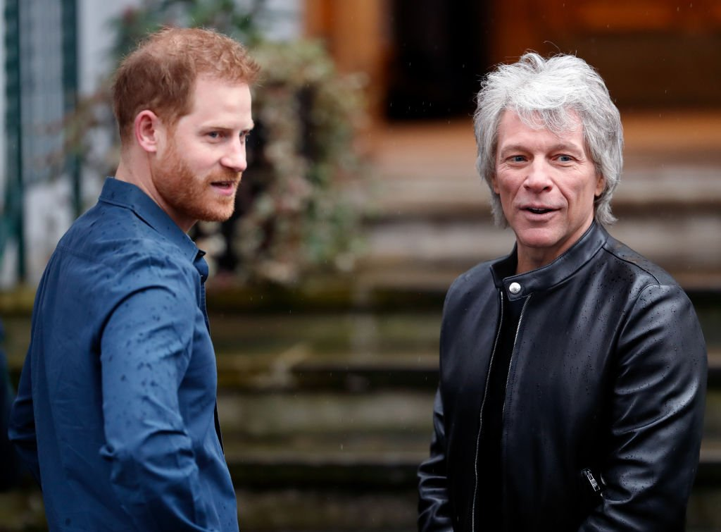 Prince Harry, Duke of Sussex meets Jon Bon Jovi at the Abbey Road Studios where the Invictus Games Choir are recording a special single in aid of the Invictus Games Foundation on February 28, 2020 | Photo: Getty Images