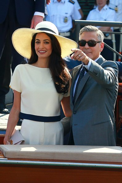 George Clooney and Amal Alamuddin sighting during their civil wedding | Photo: Getty Images