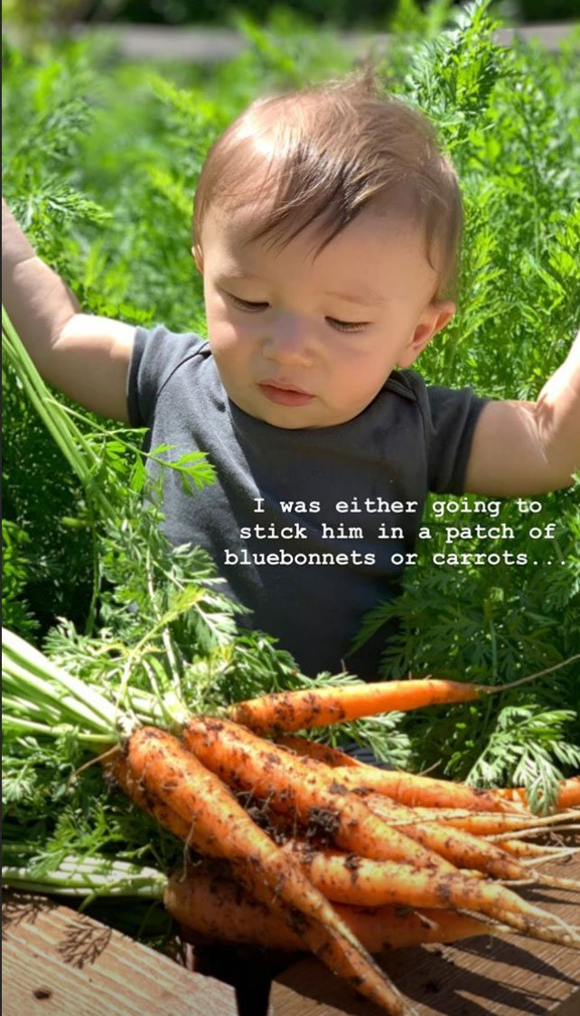 Baby Crew playing with carrots in his first Easter | Photo: Instagram/Joanna Gaines