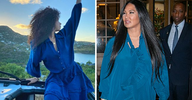 Kimora Lee Simmons' Daughter Aoki Shows Cool View Posing in a Blue Dress — Fans Are in Awe