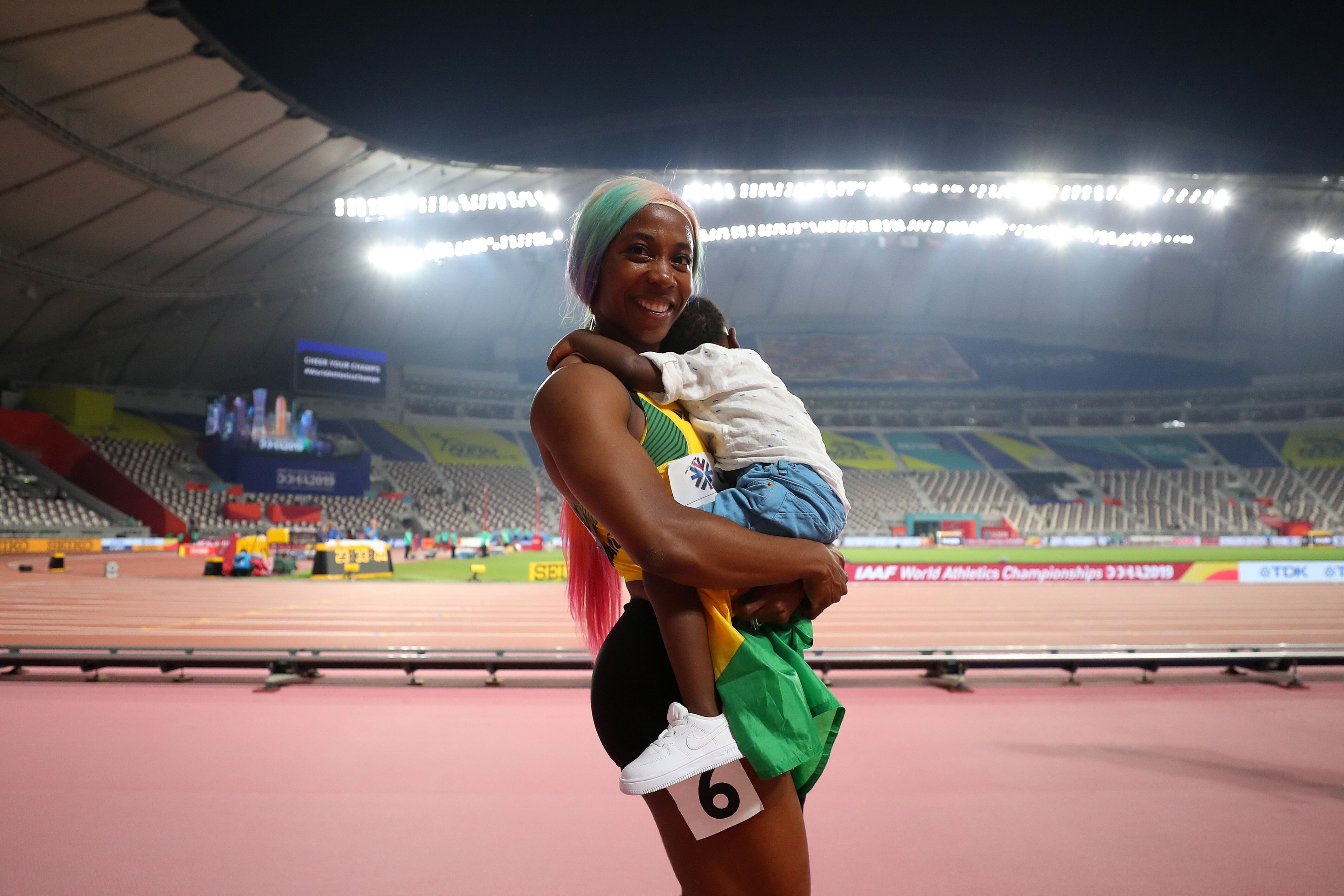 Shelly-Ann Fraser-Pryce and here son Zion/ Source: Getty Images