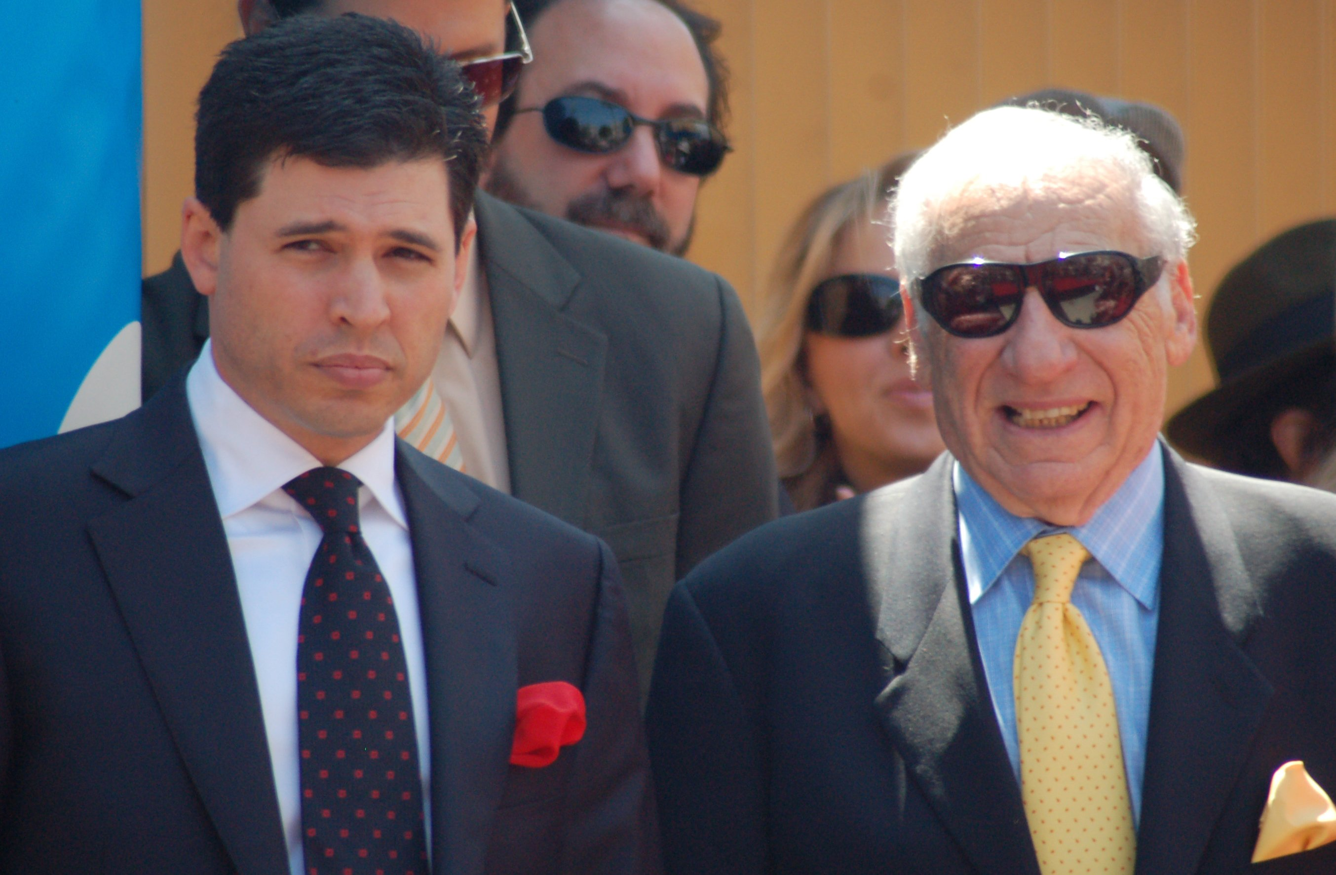 Max and Mel Brooks at a ceremony for Mel to receive a star on the Hollywood Walk of Fame on 23 April 2010. | Source: Wikimedia Commons