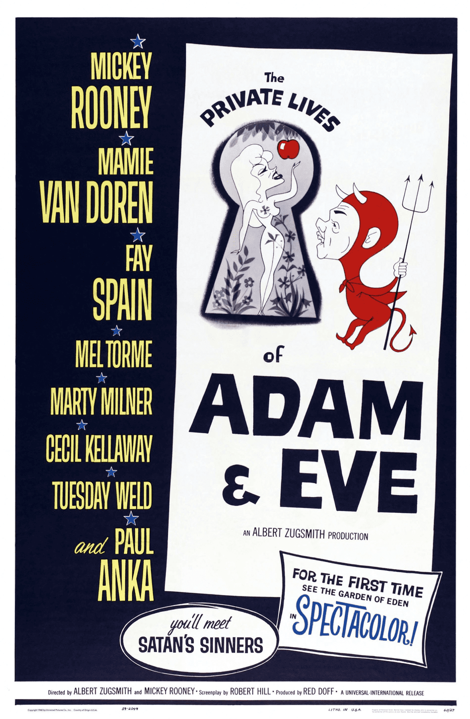 """Poster für """"The Private Lives Of Adam And Eve"""", ein weiterer Bacon Film, 1960   Quelle: Getty Images"""