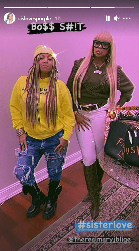 Simone Smith and Mary J. Blige pose for a photo on Smith's Instagram stories. | Source: Instagram.com/sislovespurple