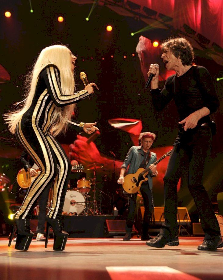 NEWARK, NJ - DECEMBER 15: Lady Gaga and Mick Jagger of The Rolling Stones performs at the Prudential Center on December 15, 2012 in Newark, New Jersey. (Editorial Use Only) The Rolling Stones concert is being telecast live worldwide via pay-per-view at 9pm EST/6pm PST. (EDITORIAL USE ONLY) (Photo by Kevin Mazur/WireImage)