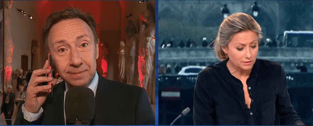 Stéphane Bern au bord des larmes en direct sur France 2, lors de l'incendie qui a ravagé la cathédrale Notre-Dame de Paris. | Capture d'écran sur Femme Actuelle.