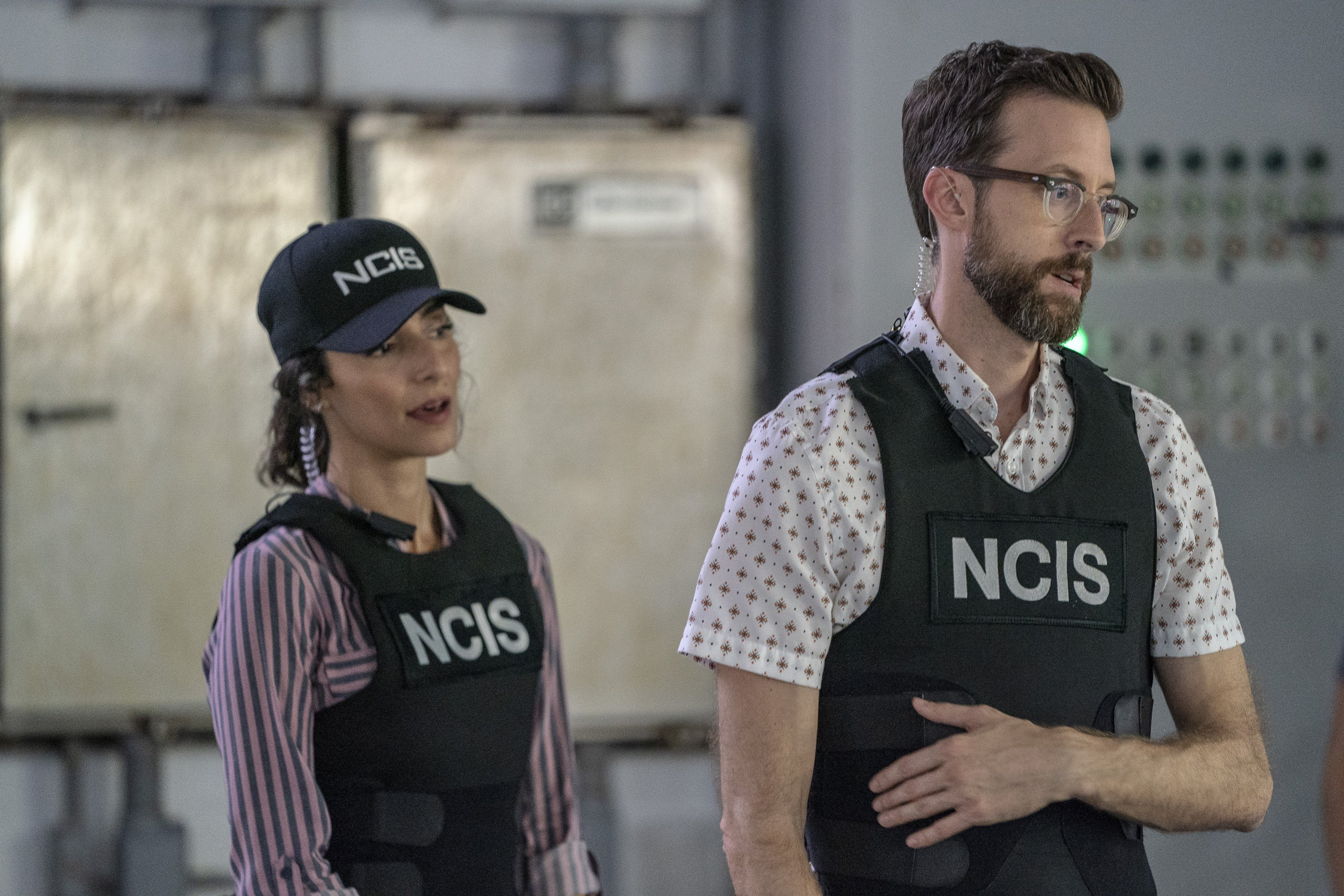 "Necar Zadegan as Special Agent Hannah Khoury and Rob Kerkovich as Forensic Scientist Sebastian Lund on ""NCIS: New Orleans"" 