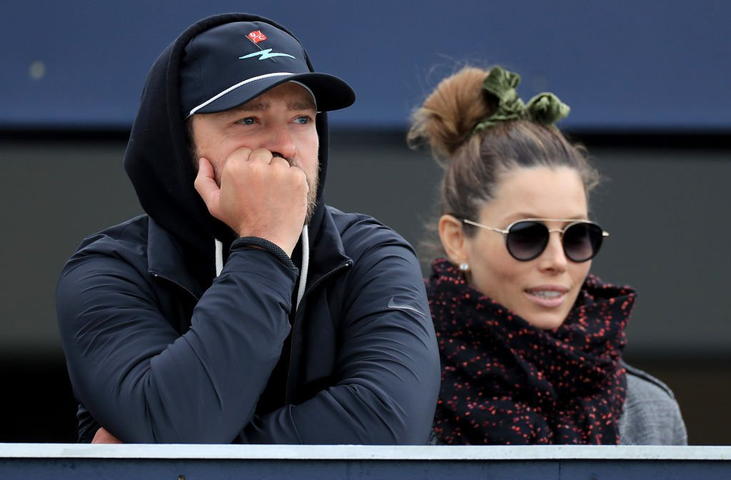 Justin Timberlake watches the golf Jessica Biel during the final round of the Alfred Dunhill Links Championship, September 2019   Source: Getty Images
