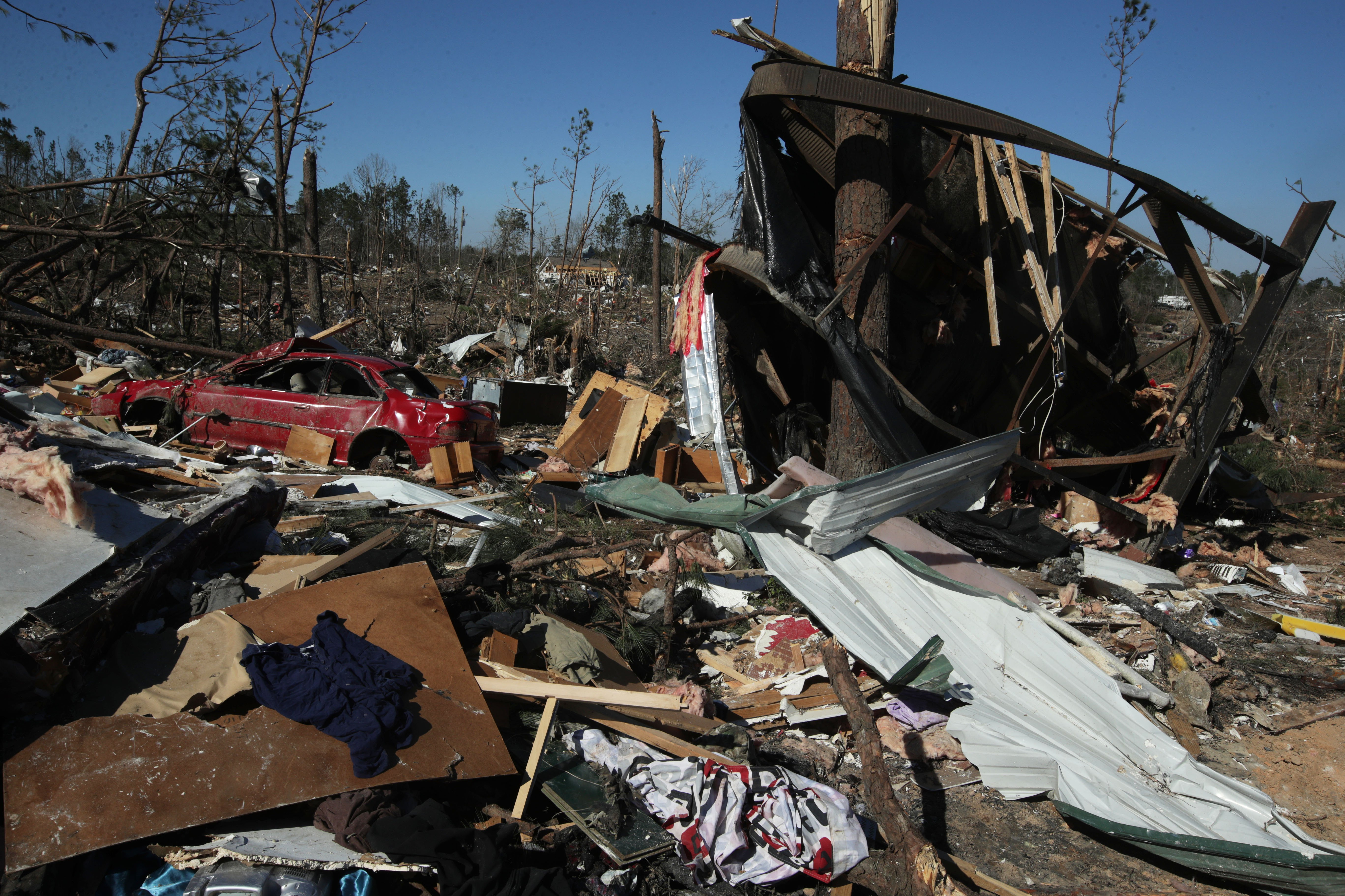 The devastation caused by the tornado in Beauregard, Alabama | Photo: Getty Images