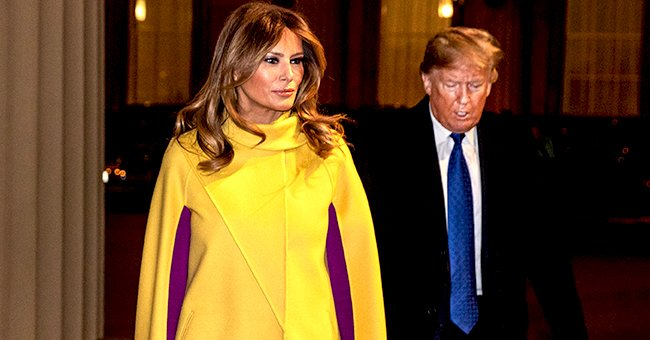 Melania Trump Pairs $7,700 Bright Yellow Cape Coat with Magenta Dress for Visit to Buckingham Palace
