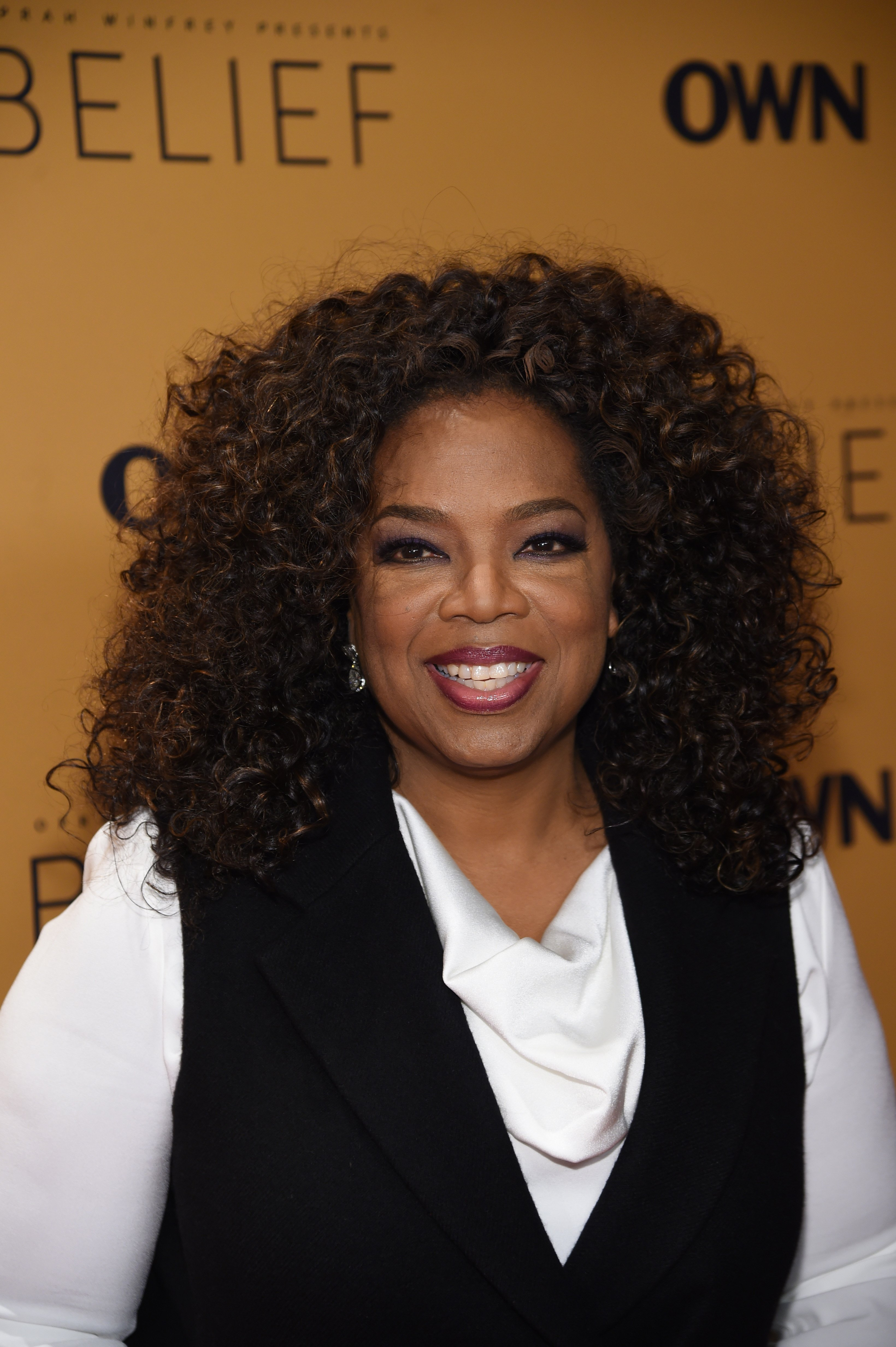 """Oprah Winfrey at the """"Belief"""" New York premiere on Oct. 14, 2015 in New York City 