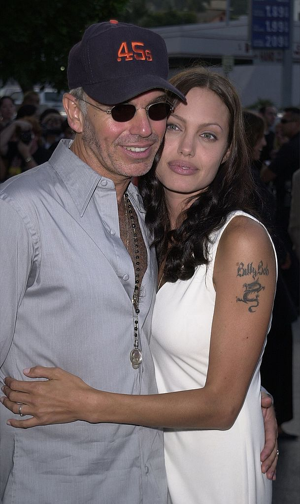 """Angelina Jolie and her ex-husband Billy Bob Thornton attend the premiere of """"Original Sin"""" in Hollywood, California on July 31, 2001 