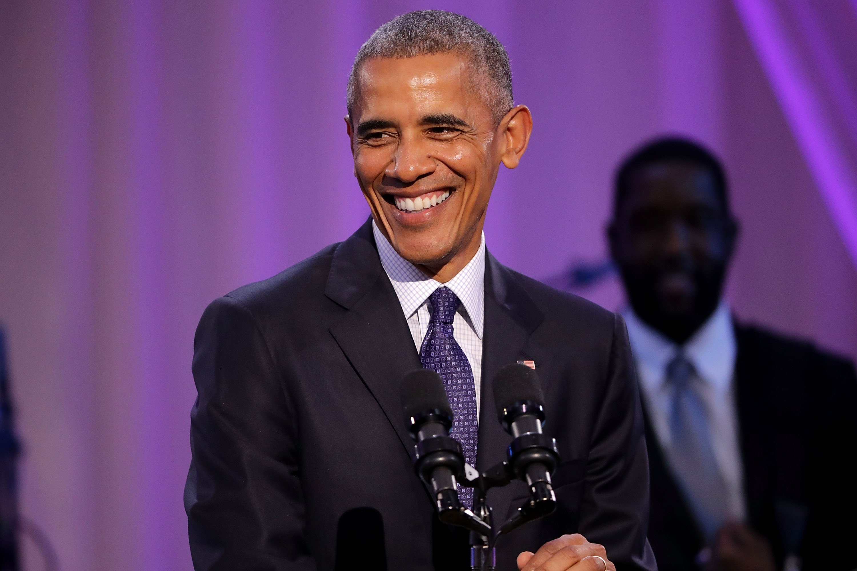 "Barack Obama speaking at BET's ""Love and Happiness: A Musical Experience"" on October 21, 2016 at The White House in Washington, DC. 